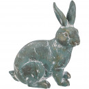 Poly bunny Ramy, L20cm, W9cm, H16cm, green patina